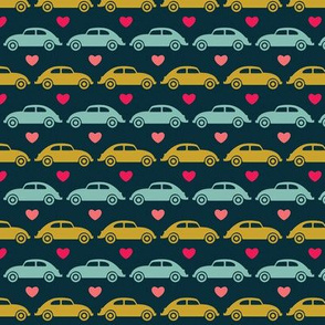 VW Beetle Love - Blue + Olive + Pink - Small