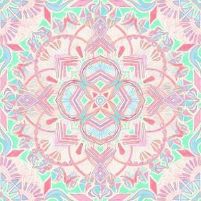 Mint and Blush Pink Painted Mandala Small Version
