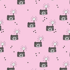 Oh flash take that photo selfie cool toy camera illustration design scandinavian style black and white pink
