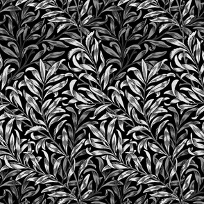 Willow Bough ~  White on Black ~ The William Morris Collection