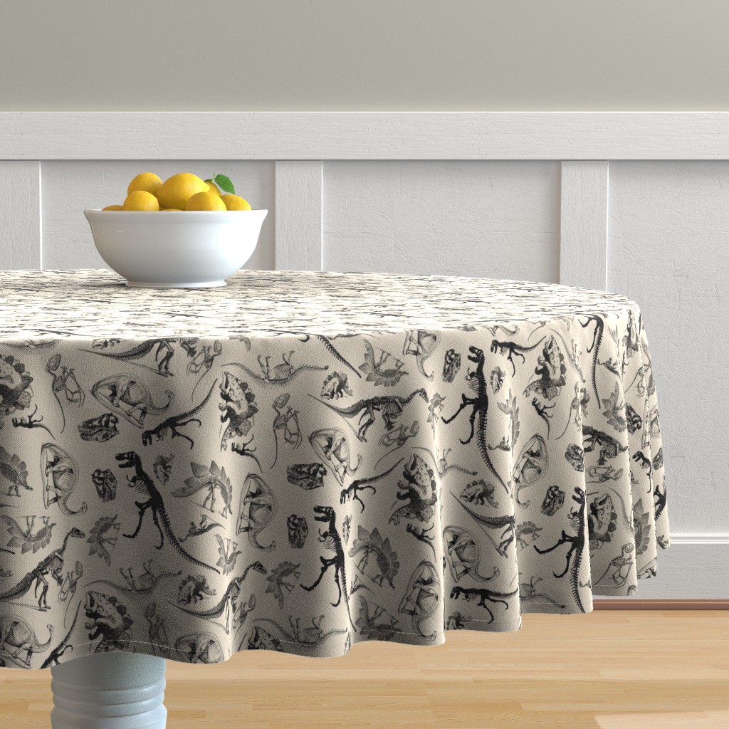 Malay Round Tablecloth featuring Dinosaurs on Cream | Vintage Dinosaur Skeletons by bohobear