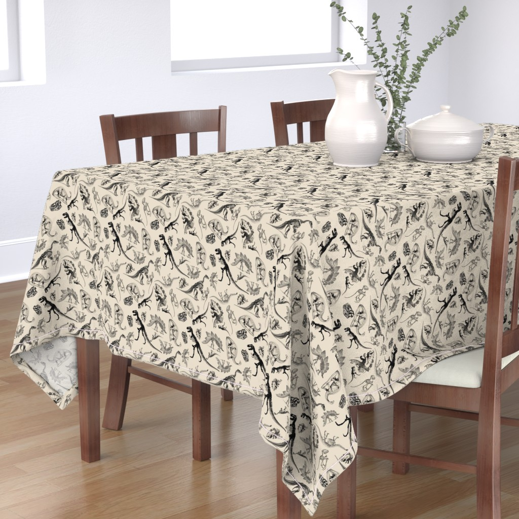 Bantam Rectangular Tablecloth featuring Dinosaurs on Cream | Vintage Dinosaur Skeletons by bohobear