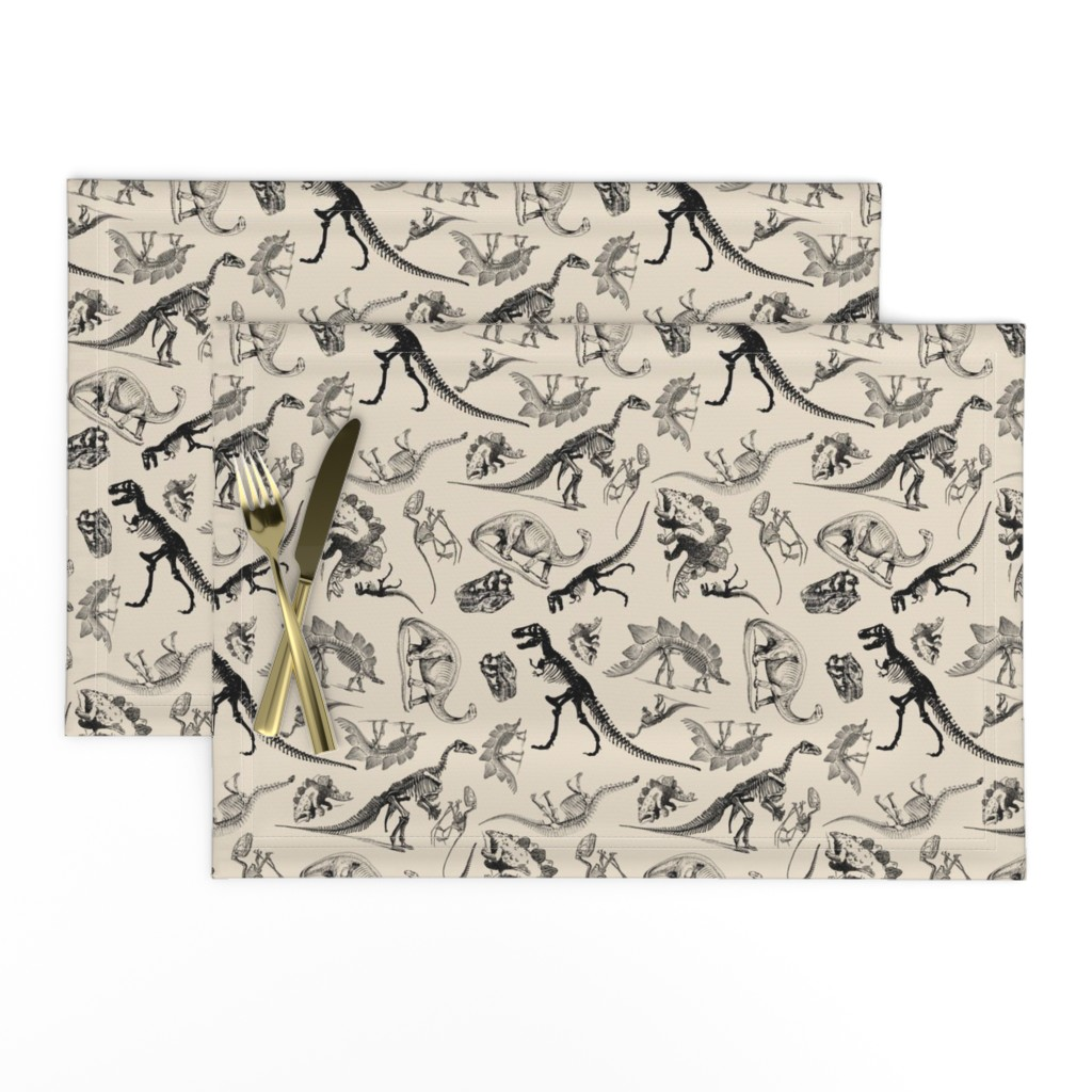Lamona Cloth Placemats featuring Dinosaurs on Cream | Vintage Dinosaur Skeletons by bohobear