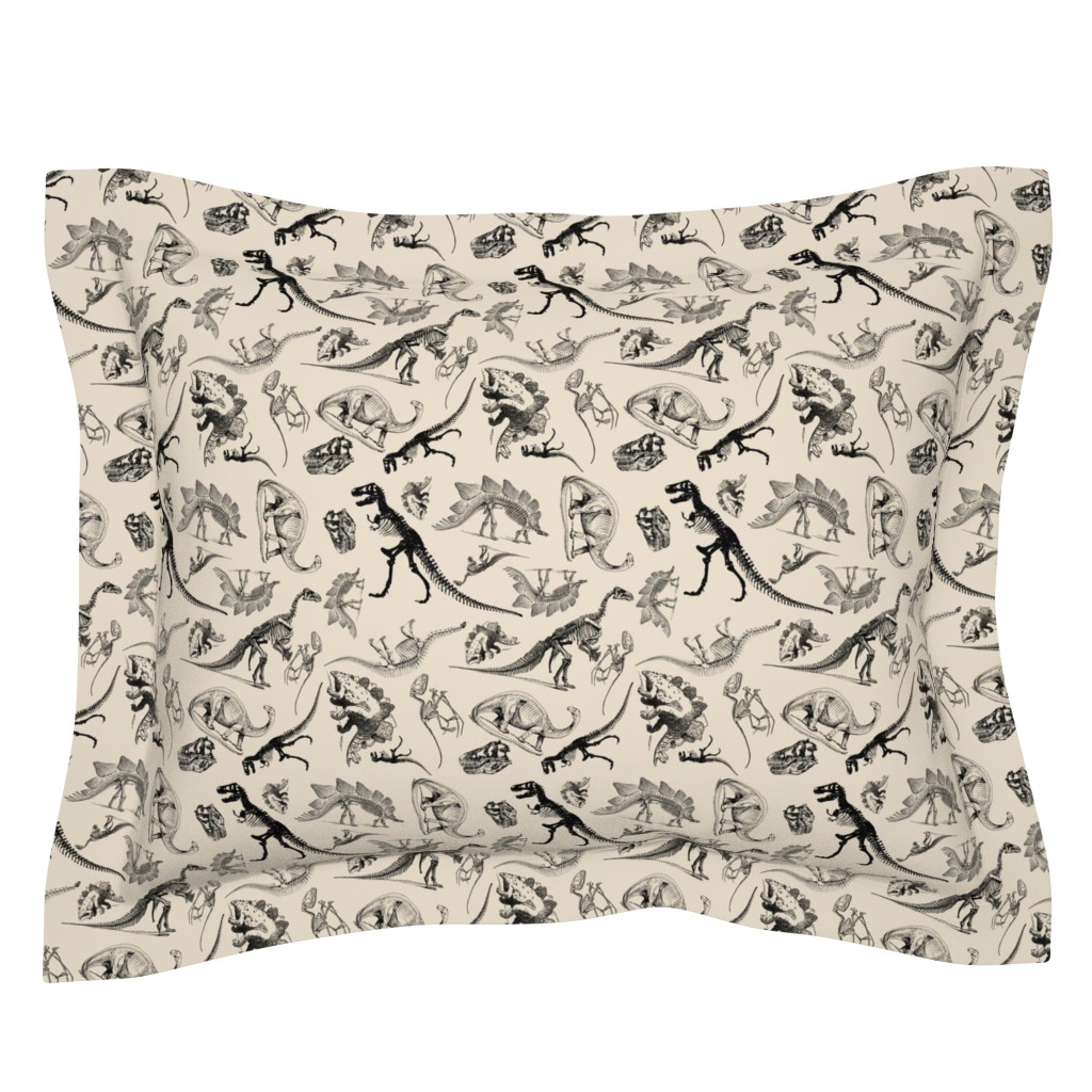 Sebright Pillow Sham featuring Dinosaurs on Cream | Vintage Dinosaur Skeletons by bohobear