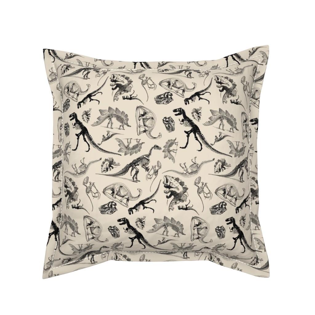 Serama Throw Pillow featuring Dinosaurs on Cream | Vintage Dinosaur Skeletons by bohobear