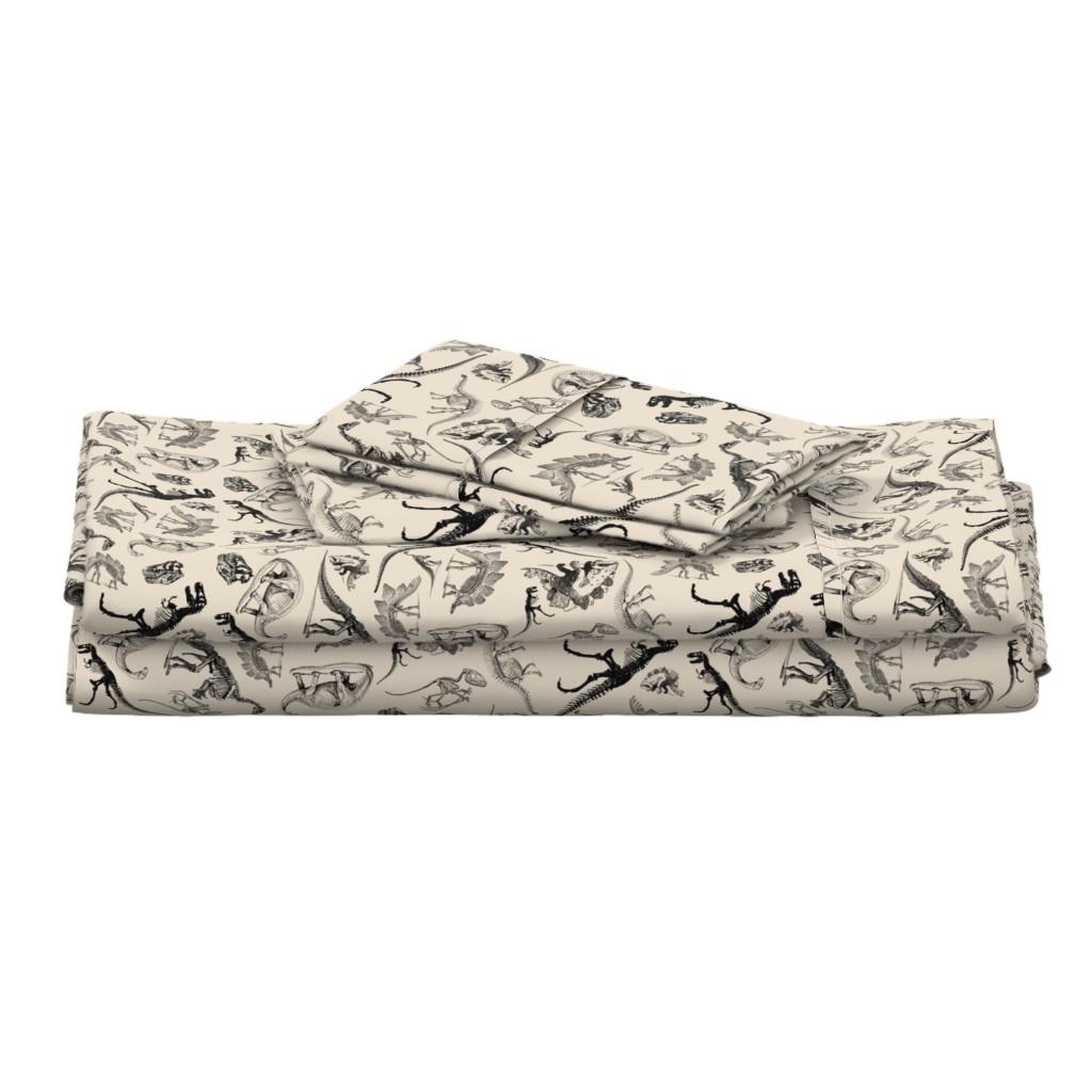 Langshan Full Bed Set featuring Dinosaurs on Cream | Vintage Dinosaur Skeletons by bohobear