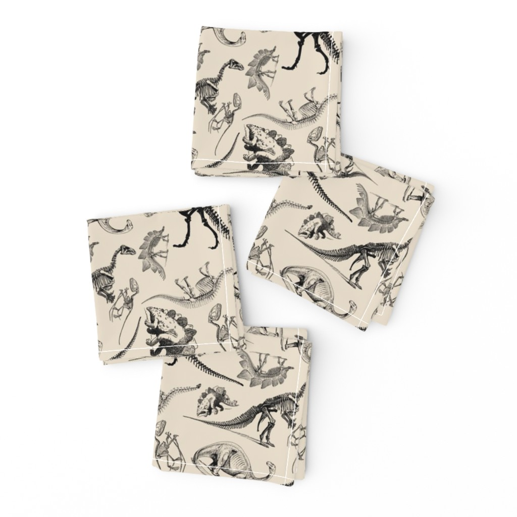 Frizzle Cocktail Napkins featuring Museum Animals, Dinosaur Skeletons on Cream, Vintage Dinos by bohobear