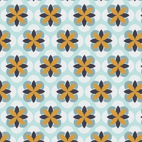 Geometric Floral in Mustard Yellow and Robins Egg Blue