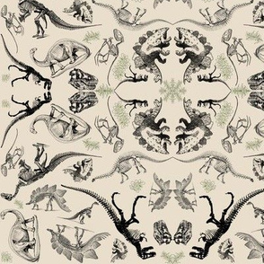 Dinosaur Skeleton and Illustration Kaleidoscope Toile on Cream