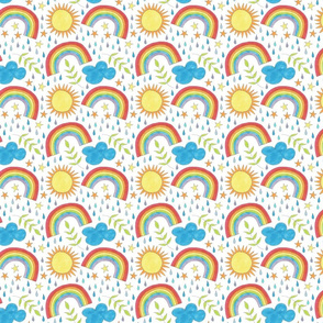 rainbows, clouds, leaves and sunshine