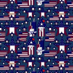 Americana, Patriotic, 4th of July, red, White & Blue Stars and Flags Fabric #3