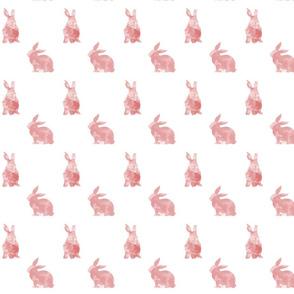 Pink Bunnies Watercolour Wallpaper