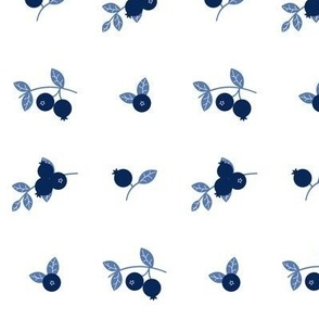 Maine Blueberries in Navy and Light Blue - Larger Print Version