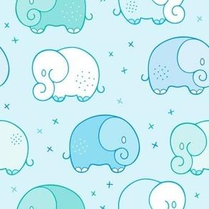 Happy cute baby Elephants