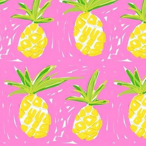painterly pink pineapples!