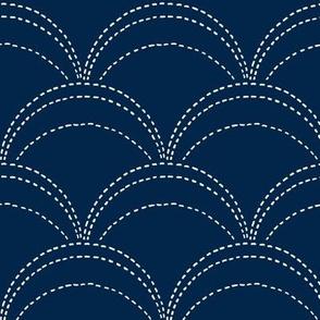 large wave stitch navy