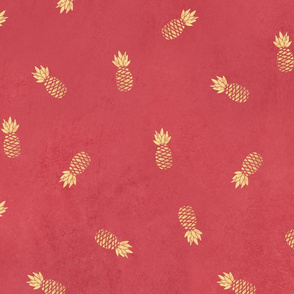 Golden pineapples on pink