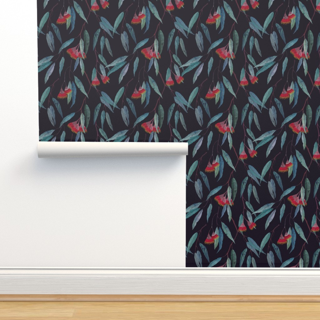 Isobar Durable Wallpaper featuring Eucalyptus leaves and flowers by lavish_season