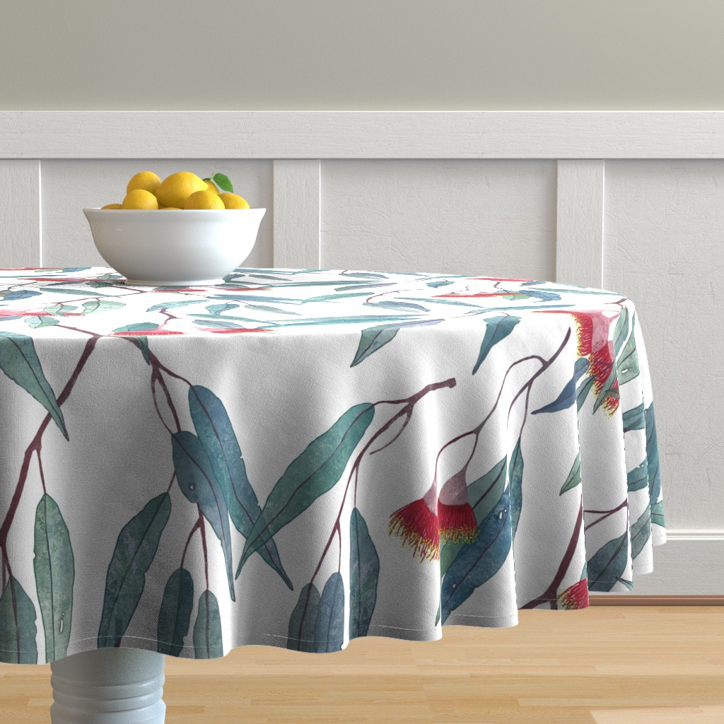 Malay Round Tablecloth featuring Eucalyptus leaves and flowers by lavish_season