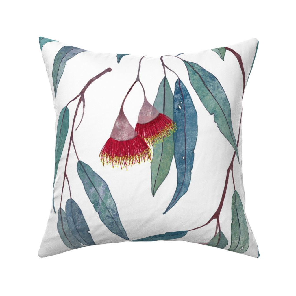 Catalan Throw Pillow featuring Eucalyptus leaves and flowers by lavish_season