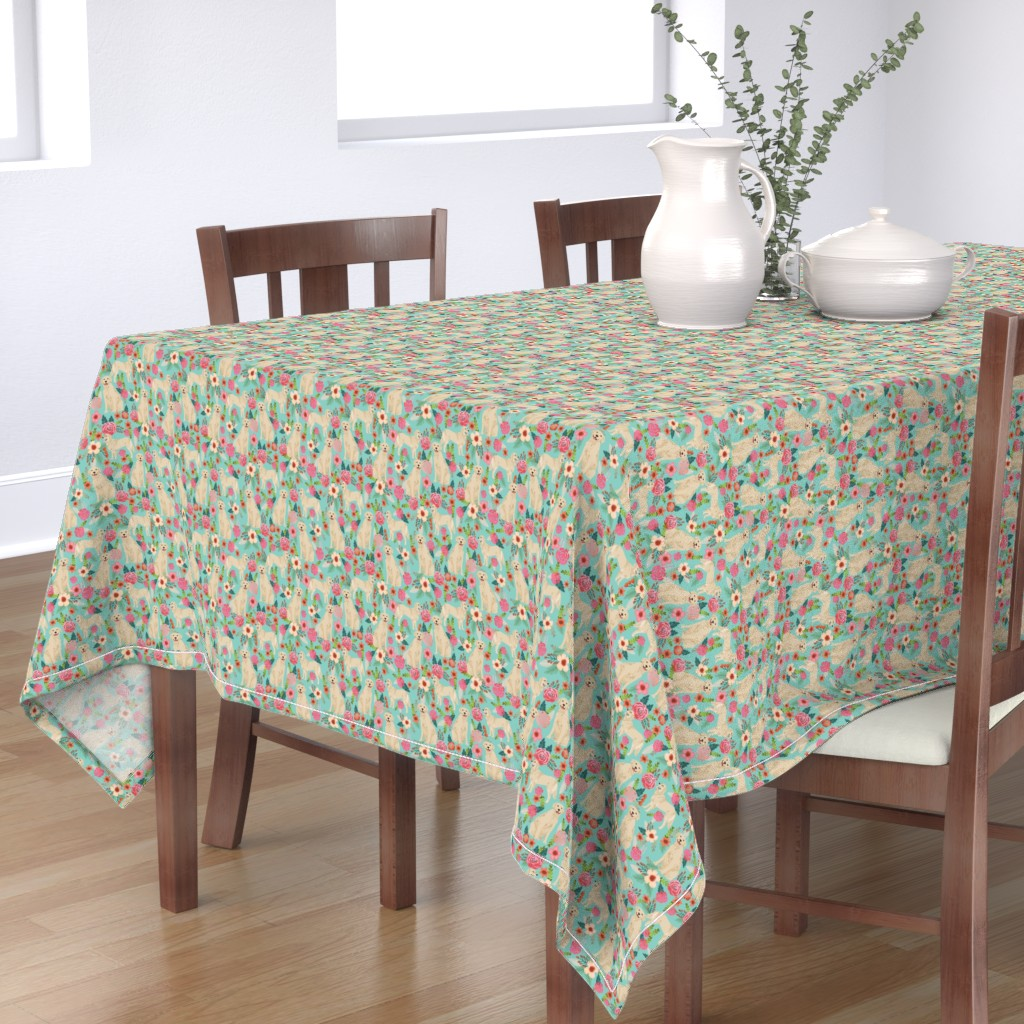 Bantam Rectangular Tablecloth featuring Golden Retriever, dog dogs, florals, flowers, cute nursery baby girls pastel mint all  over dog print by petfriendly