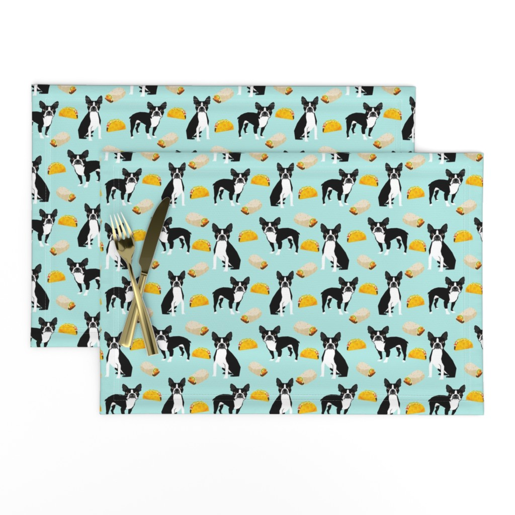 Lamona Cloth Placemats featuring Boston Terrier Tacos, food, novelty, tacos, mexican food, cute dog, dogs, funny dog print by petfriendly