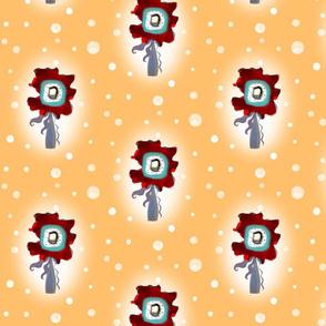 Flower Orange Snow Fabric