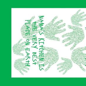 Green My Nana Tea Towel