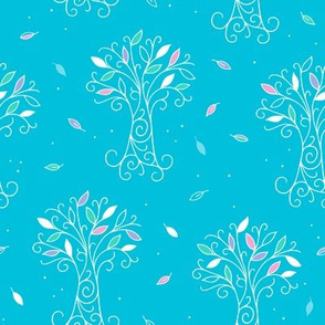 Leaves and Trees outlined on blue