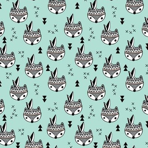 Cool geometric Scandinavian winter style indian summer animals little baby fox mint XS
