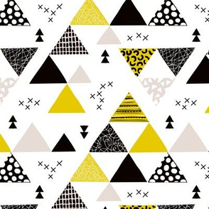 Geometric pastel black and white triangle  abstract memphis style crosses and shapes ochre yellow