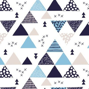 Geometric pastel black and white triangle  abstract memphis style crosses and shapes blue