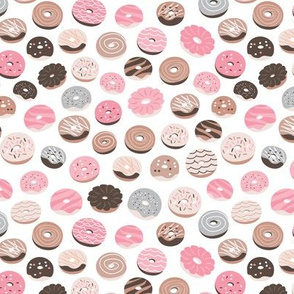 Colorful donuts sweet NY bakery goods candy design soft pink beige