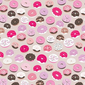 Colorful donuts sweet NY bakery goods candy design hot pink beige