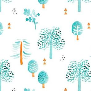 Retro summer fall and autumn garden forest Scandinavian woodland design watercolor painting blue