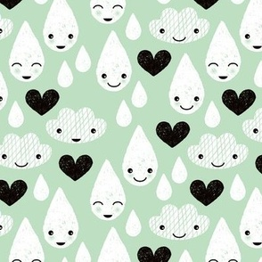 Soft clouds rain drops sweet dreams kawaii love sparkle sky soft mint
