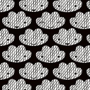 Soft clouds sweet dreams kawaii sparkle sky black and white