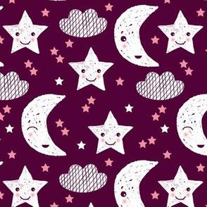 Soft stars good night clouds sweet dreams moon kawaii sparkle pink maroon purple