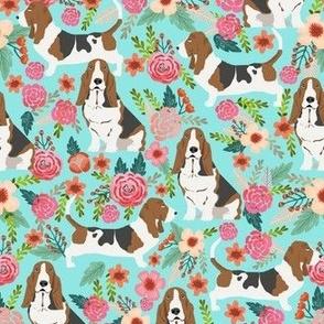 basset hound flowers florals spring cute flowers vintage floral print dogs basset hound fabrics