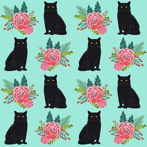 floral cats black cat cute painted vintage flowers florals