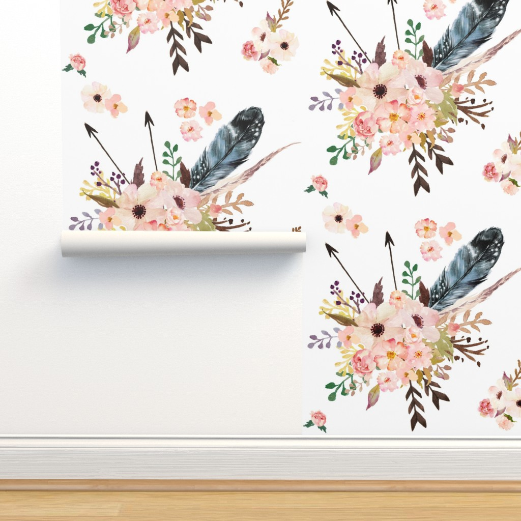 "Isobar Durable Wallpaper featuring 6"" Boho Pink in White by shopcabin"