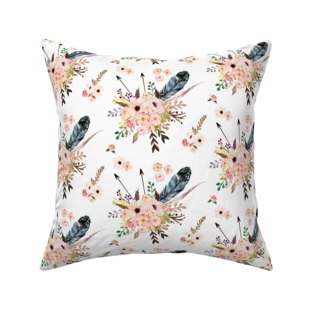 """Catalan Throw Pillow featuring 6"""" Boho Pink in White by shopcabin"""