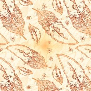 Mehndi feathers pattern