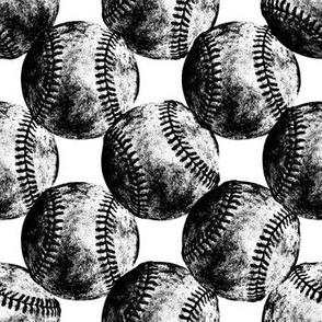 Vintage Baseballs B&W