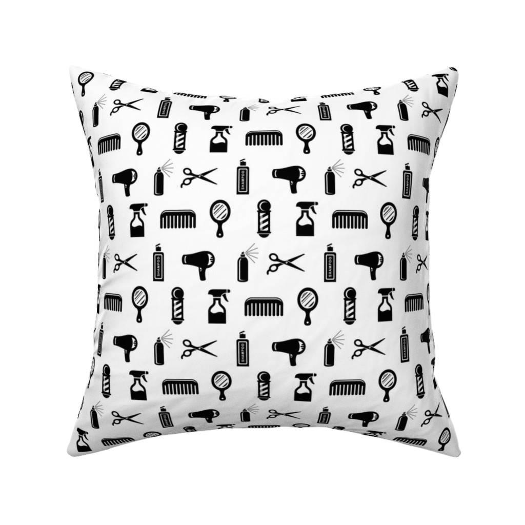Catalan Throw Pillow featuring Salon & Barber Hairdresser Pattern by cloudycapevintage