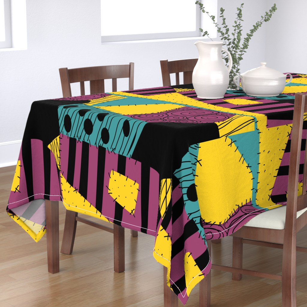 "Bantam Rectangular Tablecloth featuring Halloween Patchwork Rag Doll 36"" Repeat by ellegarrettdesigns"