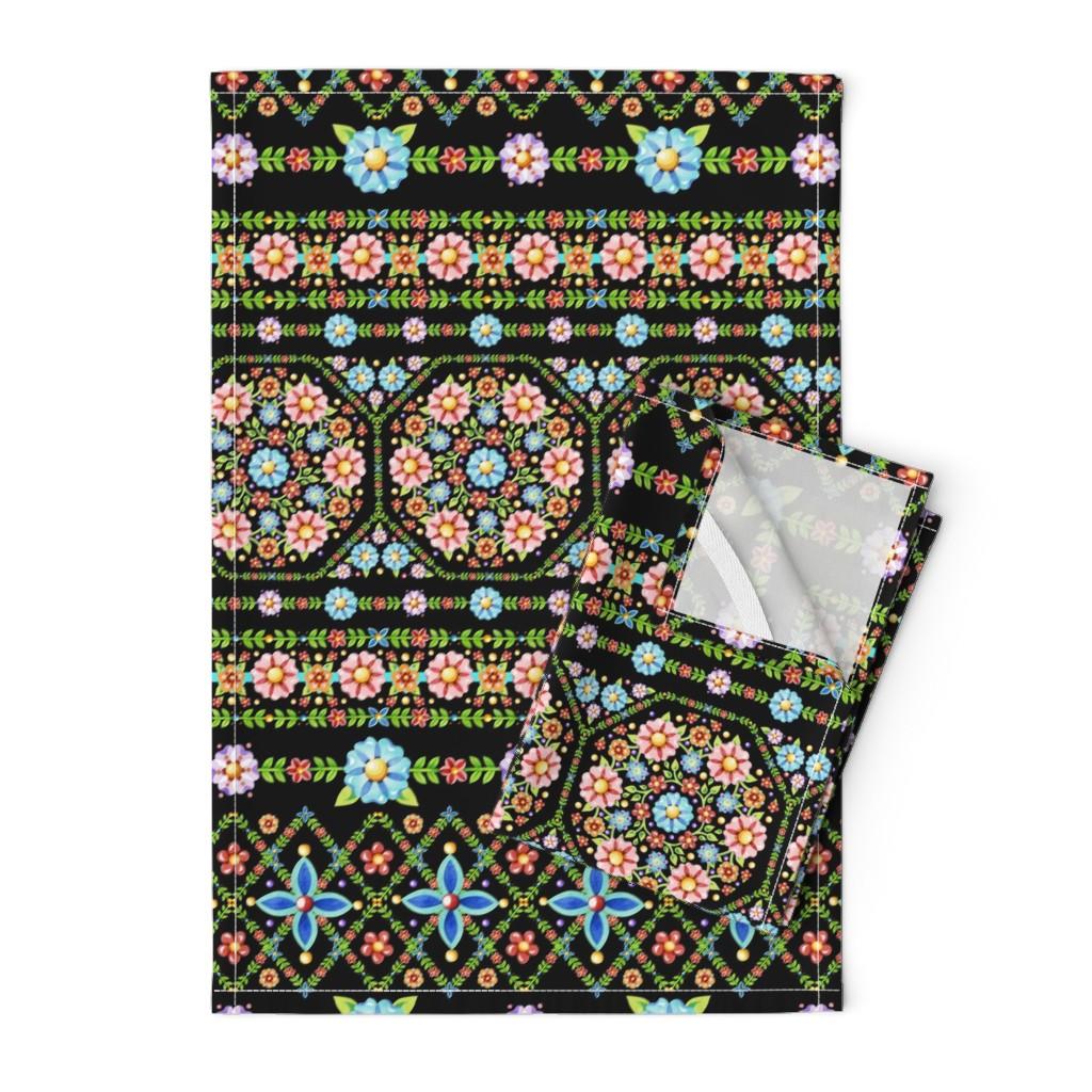 Orpington Tea Towels featuring Millefiori Folkloric Stripe by patriciasheadesigns