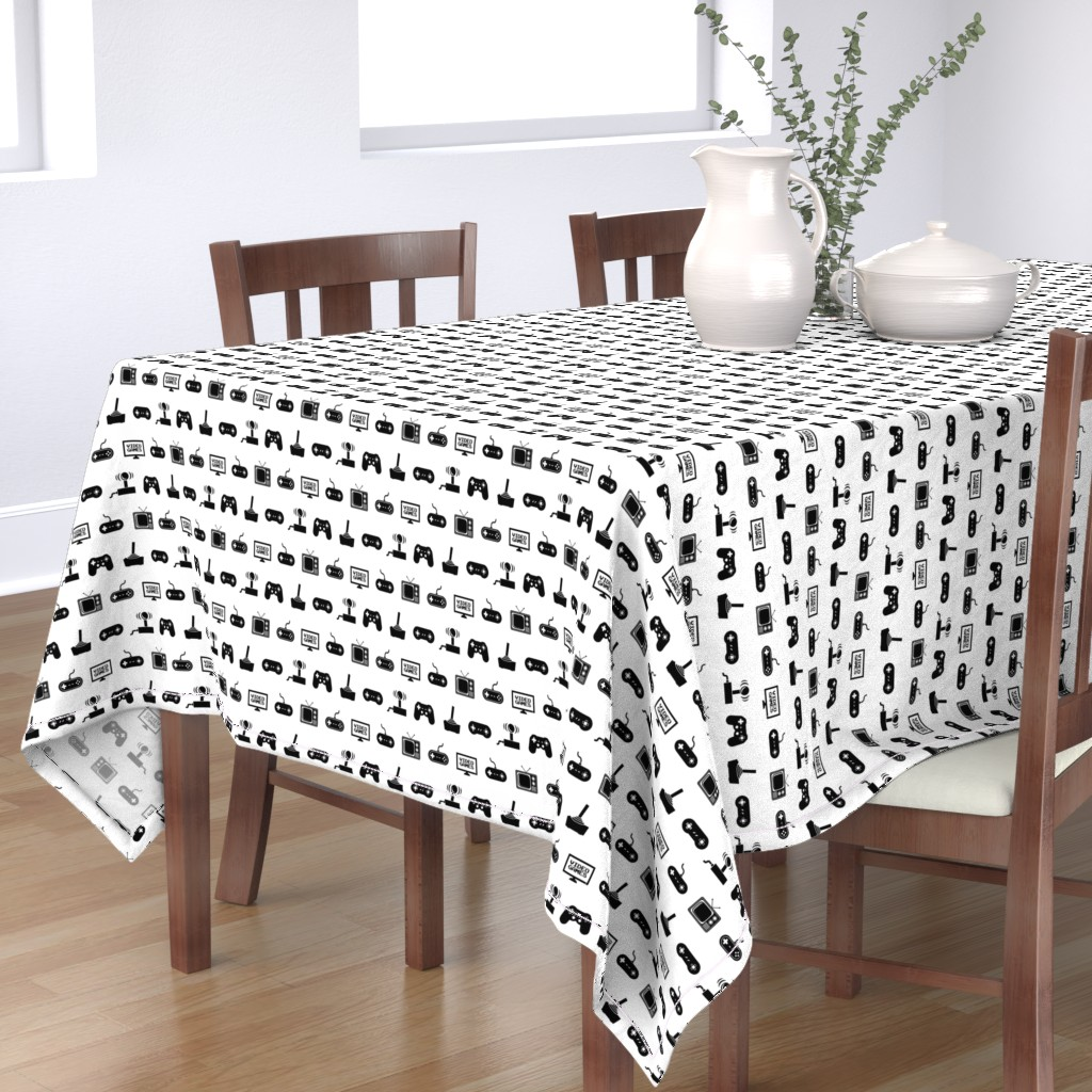 Bantam Rectangular Tablecloth featuring Video Games Pattern by cloudycapevintage