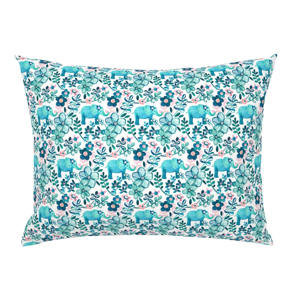 Campine Pillow Sham featuring Little Teal Elephant Watercolor Floral on White by micklyn