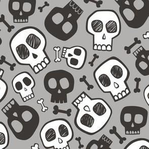 Skulls and Bones Halloween Black & White on Grey